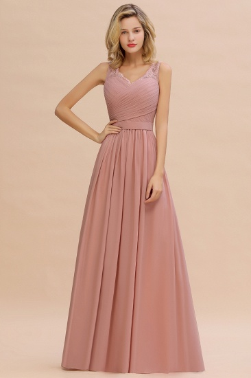 Elegant Lace Ruffles Dusty Pink Bridesmaid Dress