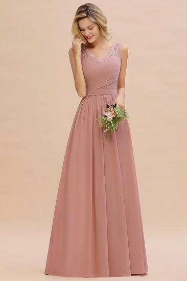 Elegant V-Neck Ruffle Dusty Rose Chiffon Lace Bridesmaid Dresses Online_7