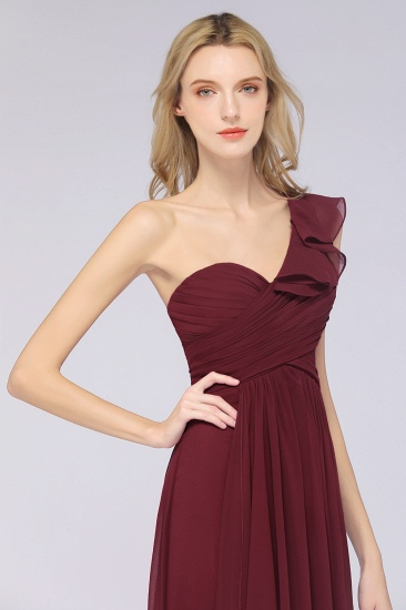 BMbridal Gorgeous Sweetheart Ruffle Burgundy Chiffon Bridesmaid Dress With One-shoulder_8