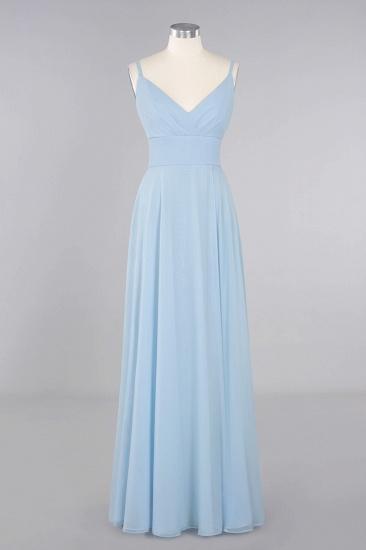Affordable Spaghetti-Straps Slit Long Chiffon Bridesmaid Dress with Ruffle_10