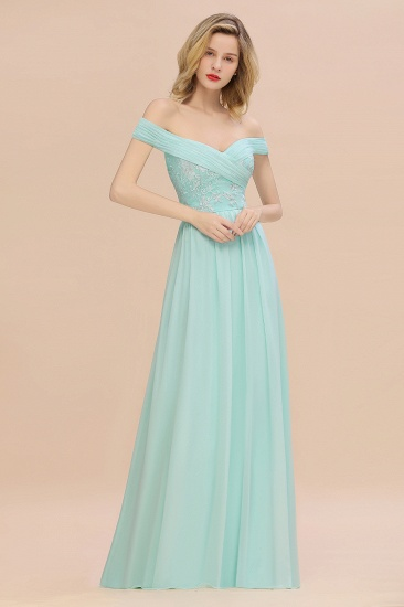 Simple Off-the-shoulder Long Affordable Bridesmaid Dress With Appliques_2