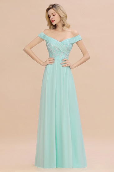 Simple Off-the-shoulder Long Affordable Bridesmaid Dress With Appliques_4