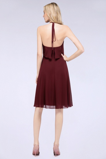 Gorgeous Halter Sleeveless Chiffon Short Bridesmaid Dress with Ruffle_3