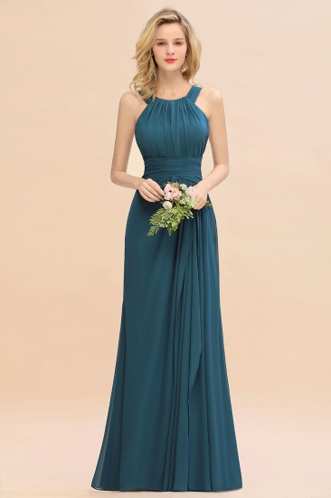 BMbridal Elegant Round Neck Sleeveless Stormy Bridesmaid Dress with Ruffles