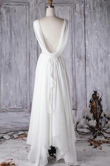 Affordable Asymmetric Chiffon Wedding Dress Lace Appliques Ruffles Bridal Gowns On Sale_3