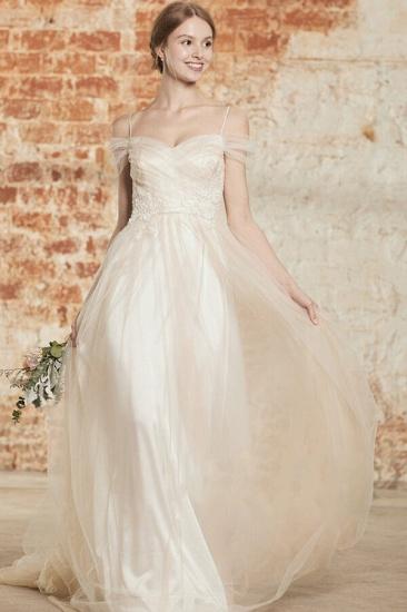 BMbridal Elegant Cold-shoulder Wedding Dress Sweetheart Appliques Ruffles Bridal Gowns Online_1
