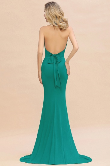 Mermaid Halter V-Neck Dark Green Chiffon Bridesmaid Dress with Open Back_32