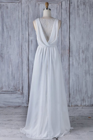 BMbridal Elegant A-Line Chiffon Wedding Dress Appliques Ruffles Draped Back Bridal Gowns Online_3
