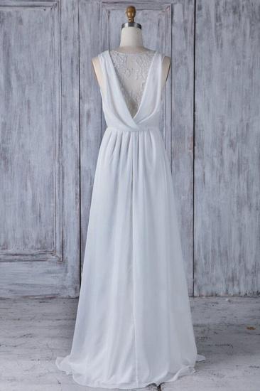 Elegant A-Line Chiffon Wedding Dress Appliques Ruffles Draped Back Bridal Gowns Online_3