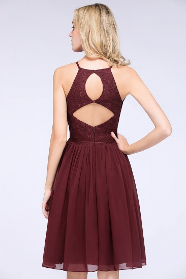 Lovely Burgundy Lace Short Bridesmaid Dress With Spaghetti-Straps_58