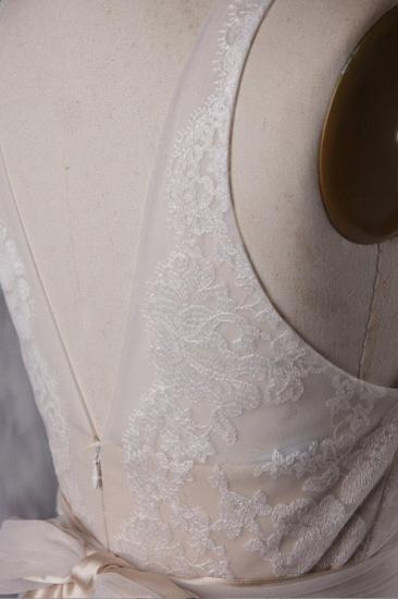BMbridal Chic Tulle Lace Wedding Dress Ruffle V-neck Sleeveless Bridal Gowns On Sale_6