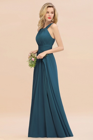 BMbridal Elegant Round Neck Sleeveless Stormy Bridesmaid Dress with Ruffles_53