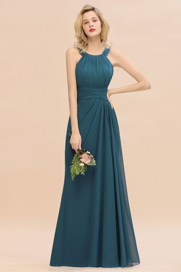 Elegant Round Neck Sleeveless Stormy Bridesmaid Dress with Ruffles_54