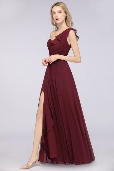 BMbridal Gorgeous Sweetheart Ruffle Burgundy Chiffon Bridesmaid Dress With One-shoulder_6