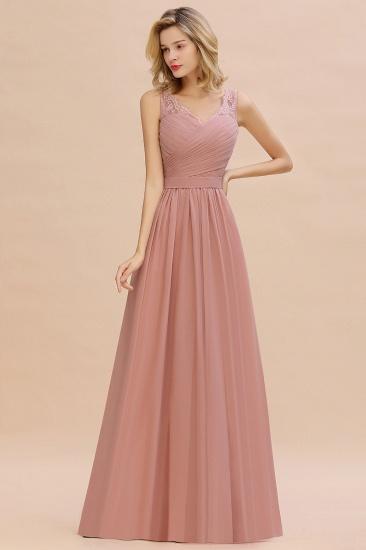 Elegant V-Neck Ruffle Dusty Rose Chiffon Lace Bridesmaid Dresses Online_5
