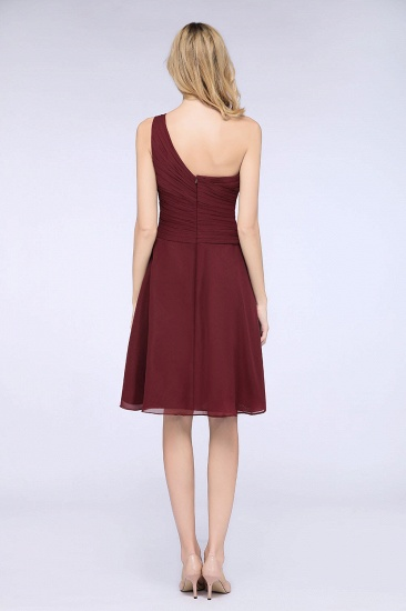 Chic One-Shoulder Short Burgundy Affordable Bridesmaid Dress with Ruffle_52