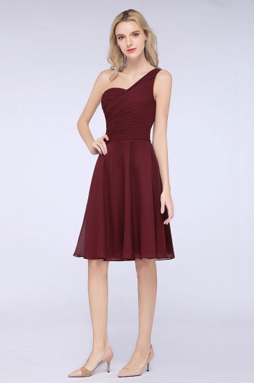 Chic One-Shoulder Short Burgundy Affordable Bridesmaid Dress with Ruffle_51