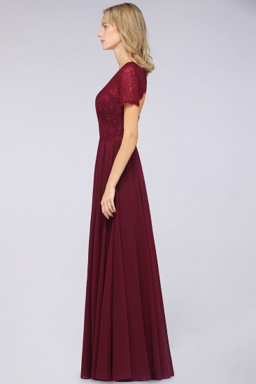 Chic Lace Long Burgundy Backless Bridesmaid Dress With Short-Sleeves_7