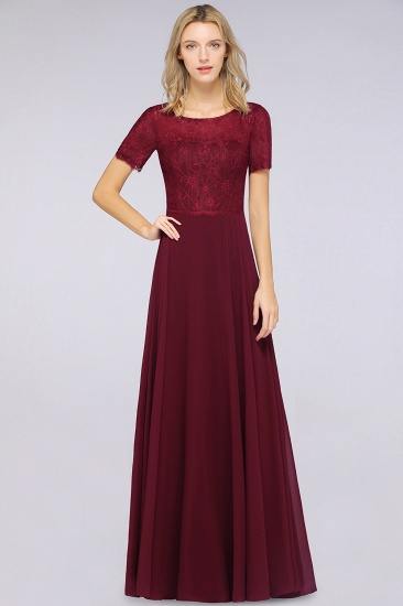 Chic Lace Long Burgundy Backless Bridesmaid Dress With Short-Sleeves_2