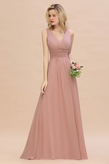 Elegant V-Neck Dusty Rose Chiffon Bridesmaid Dress with Ruffle_54