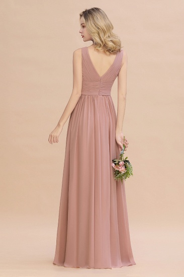 Elegant V-Neck Dusty Rose Chiffon Bridesmaid Dress with Ruffle_52