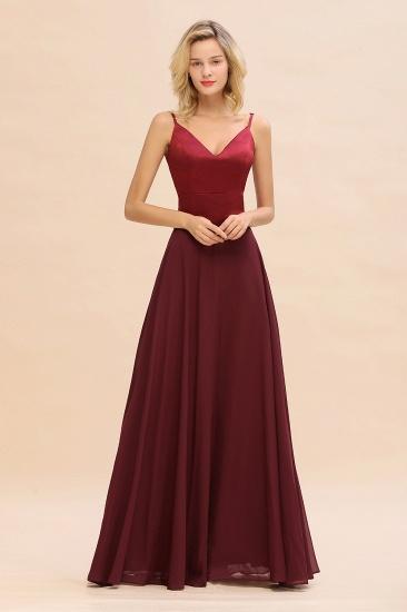 BMbridal Simple Satin Chiffon Spaghetti-Straps Burgundy Long Bridesmaid Dress_1