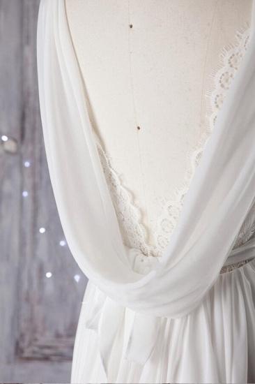 Affordable Asymmetric Chiffon Wedding Dress Lace Appliques Ruffles Bridal Gowns On Sale_5