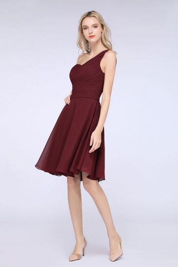 Chic One-Shoulder Short Burgundy Affordable Bridesmaid Dress with Ruffle_56
