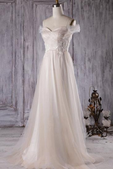 BMbridal Elegant Cold-shoulder Wedding Dress Sweetheart Appliques Ruffles Bridal Gowns Online_2