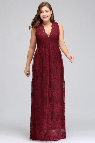 Plus Size A-Line V-Neck Burgundy Lace Bridesmaid Dress Online_1