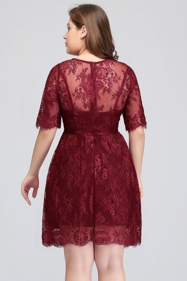 BMbridal Plus size Jewel Burgundy Affordable Bridesmaid Dress with Short Sleeves_3
