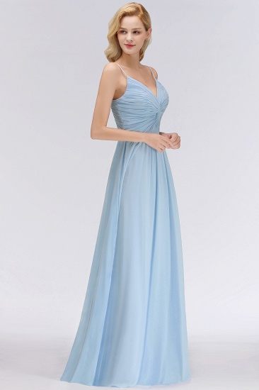 Chic V-Neck Pleated Backless Bridesmaid Dresses with Spaghetti Straps_5