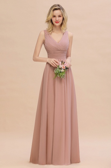 Elegant V-Neck Dusty Rose Chiffon Bridesmaid Dress with Ruffle_53