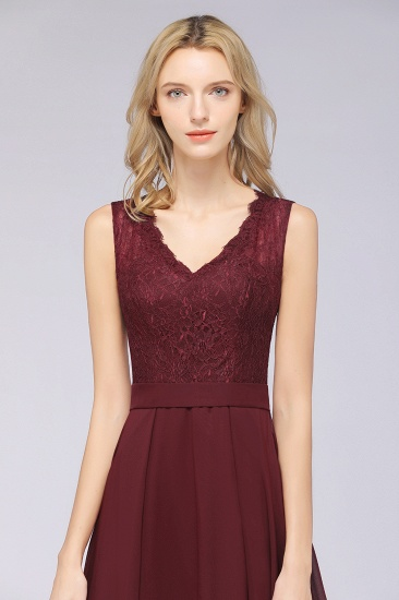 BMbridal Modest Chiffon V-Neck Burgundy Lace Bridesmaid Dresses Online_57