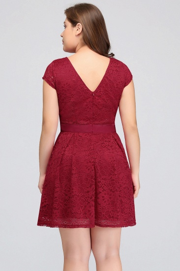 Plus Size A-Line Jewel Burgundy Lace Bridesmaid dress with Short Sleeves_3