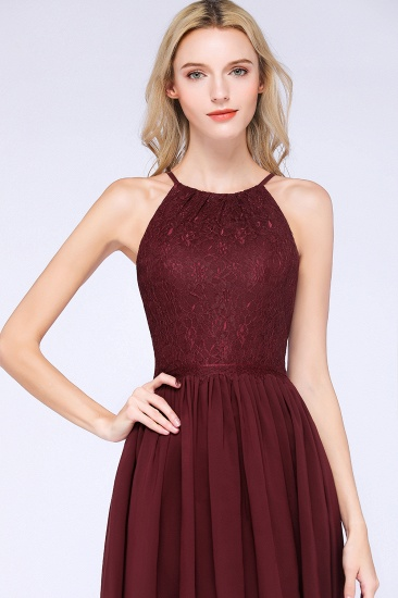 Lovely Burgundy Lace Short Bridesmaid Dress With Spaghetti-Straps_57