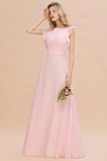 Simple Jewel Draped Sleeves Blushing Pink Bridesmaid Dress Online_6