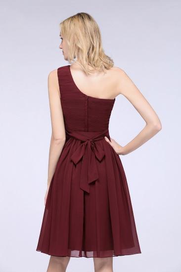 Chiffon One Shoulder Ruffle Short Burgundy Bridesmaid Dresses Online_10