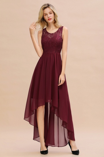 Affordable Hi-Lo Lace Sleeveless Burgundy Chiffon Bridesmaid Dress Online_4