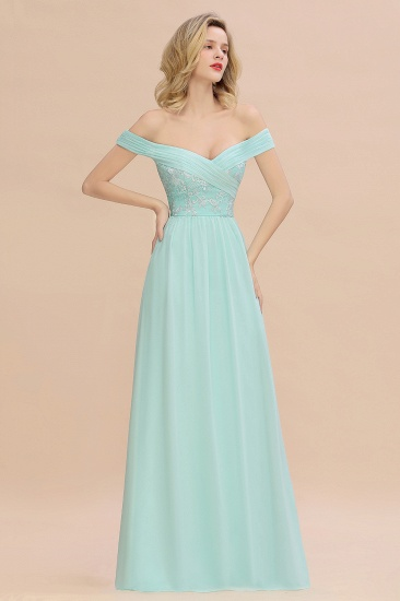 Simple Off-the-shoulder Long Affordable Bridesmaid Dress With Appliques_5
