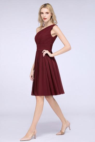 Chiffon One Shoulder Ruffle Short Burgundy Bridesmaid Dresses Online_1