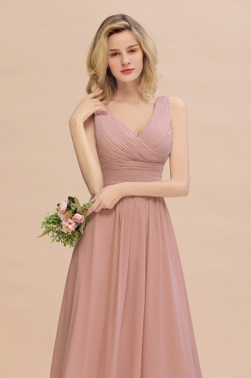 Elegant V-Neck Dusty Rose Chiffon Bridesmaid Dress with Ruffle_57
