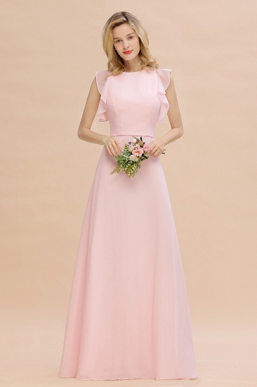 Simple Jewel Draped Sleeves Blushing Pink Bridesmaid Dress Online_7