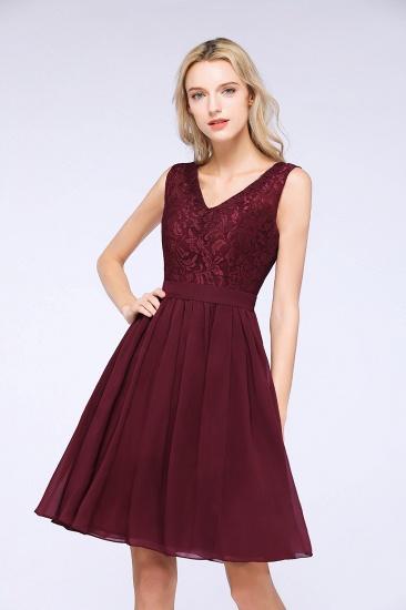 Elegant Lace V-Neck Short Burgundy Chiffon Bridesmaid Dress with Ruffle_7