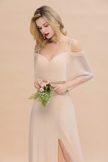 Gorgeous Spaghetti Straps Flounced Crinkle Cheap Bridesmaid Dresses with Slit_8