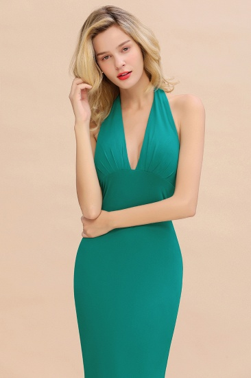 Mermaid Halter V-Neck Dark Green Chiffon Bridesmaid Dress with Open Back_37