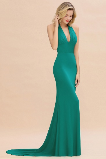 Mermaid Halter V-Neck Dark Green Chiffon Bridesmaid Dress with Open Back_36