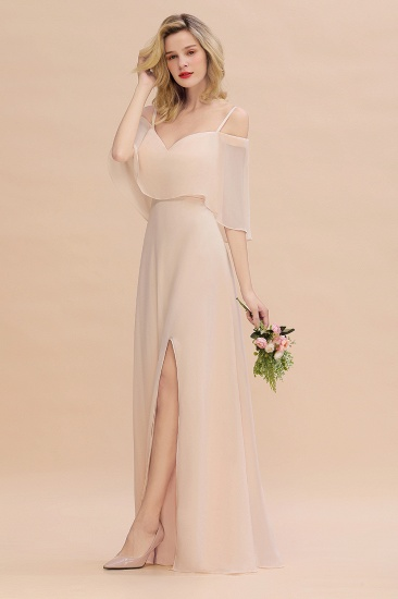 Gorgeous Spaghetti Straps Flounced Crinkle Cheap Bridesmaid Dresses with Slit_7