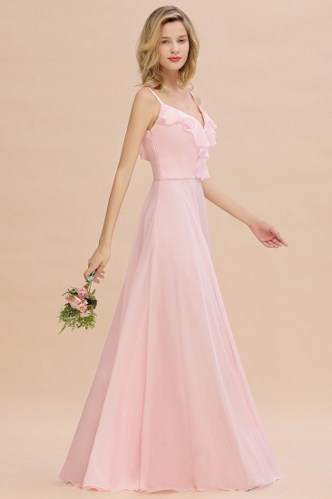 Stylish Draped V-Neck Pink Chiffon Bridesmaid Dress with Spaghetti Straps_5