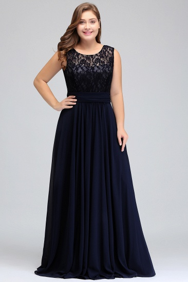 Plus Size Lace Jewel Long Bridesmaid Dress Online with Ruffle_1